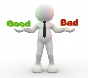 "3d people - man, person presents ""good"" and ""bad"" words"